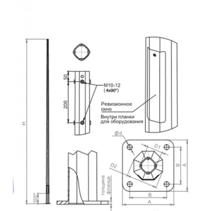 Опора граненая фланцевая не силовая НФГ-11,5(100)-02-ц