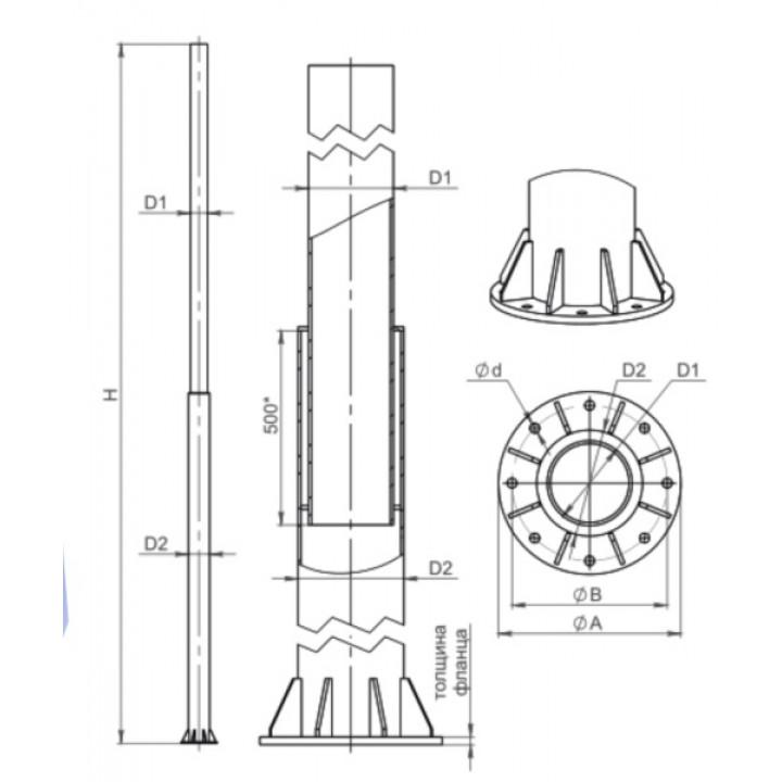 Силовая опора контактной сети ТФ-1300-9,0-02-ц